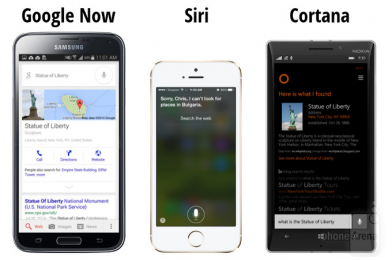 Google-Now-Vs-Siri-Vs-Cortana-Statue
